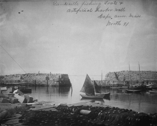Fishing boats and artificial harbor wall, Cape Ann, MA, Worth, 1891. Picture