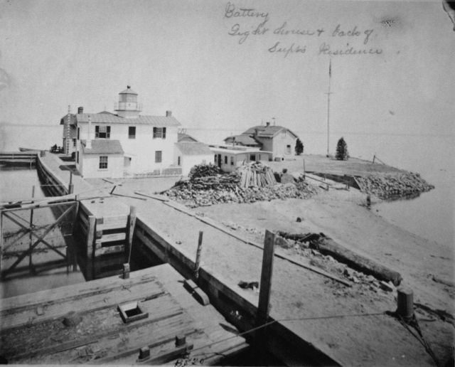Fishing Battery Lighthouse and back of hatchery Superintendent's residence. Picture