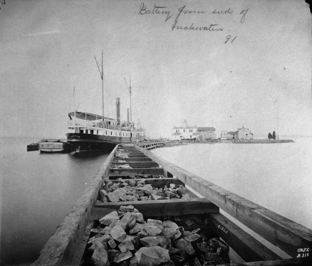 Fishing Battery Lighthouse from end of breakwater, 1891 Picture