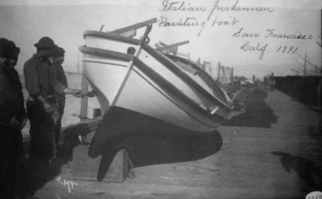 Italian fisherman painting boat, San Francisco, CA, 1891. Picture
