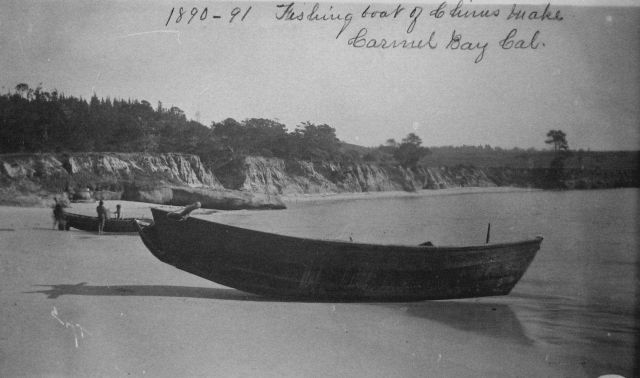 Fishing boat of Chinese make, Carmel Bay, CA, 1890-91. Picture