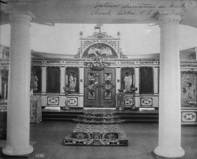 Interior decorations in Greek (Russian Orthodox) church, Sitka, AK, 1894. Picture