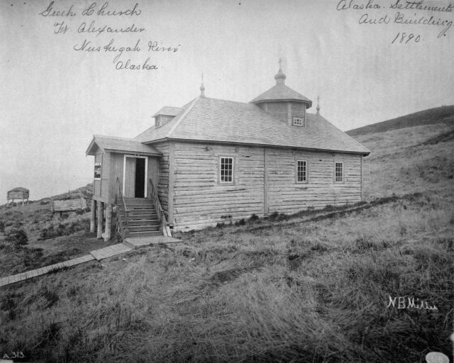 Greek (Russian Orthodox) church, Fort Alexander, Nushigah River, AK, settlements and buildings, 1890. Picture