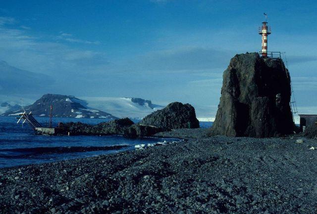 The lighthouse at the Polish Antarctic research station Henryk Arctowski, King George Island. Picture