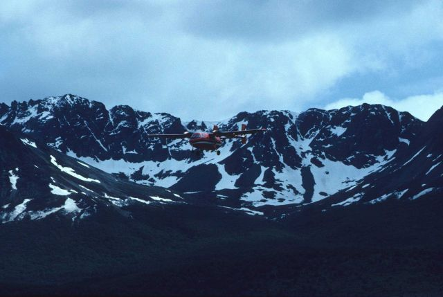 A small aircraft doing aerial surveys in South Georgia Island. Picture