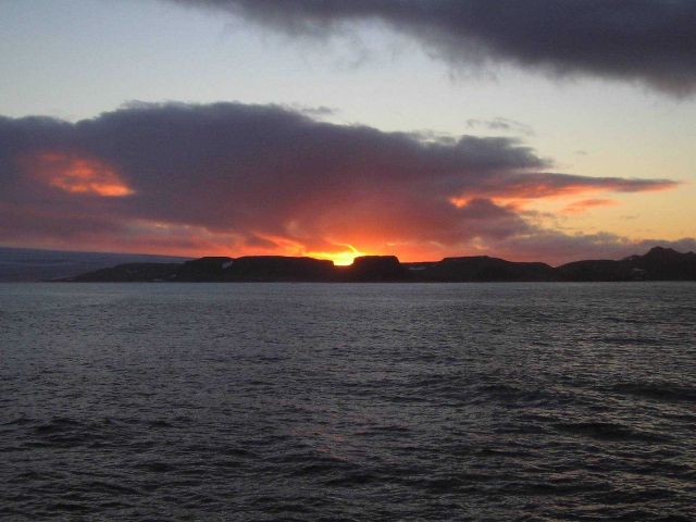 Sunset in the South Shetland Islands. Picture