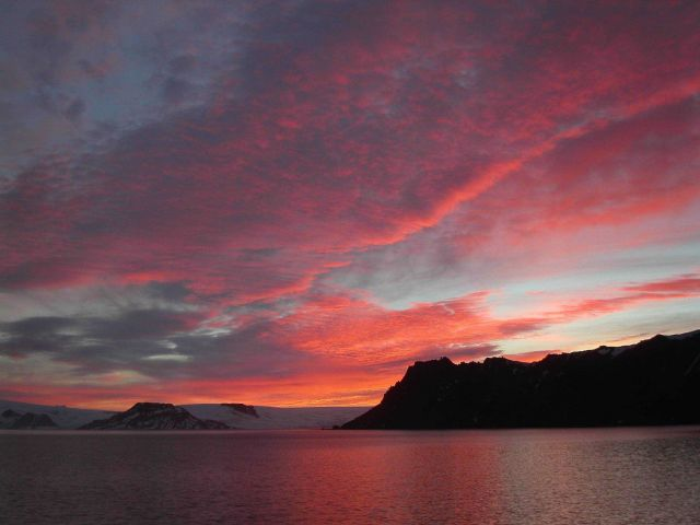Sunrise over Admiralty Bay, King George Island. Picture