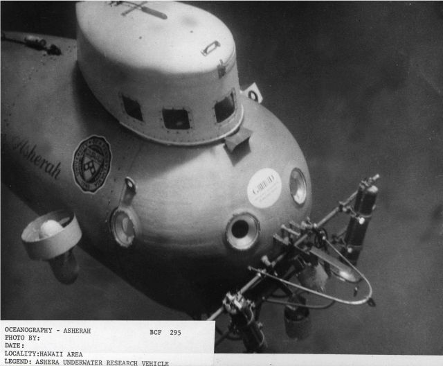 The submersible ASHERAH, a small two-man research vehicle operated by the University of Pennsylvania Penn Museum between 1964 and 1969 Picture