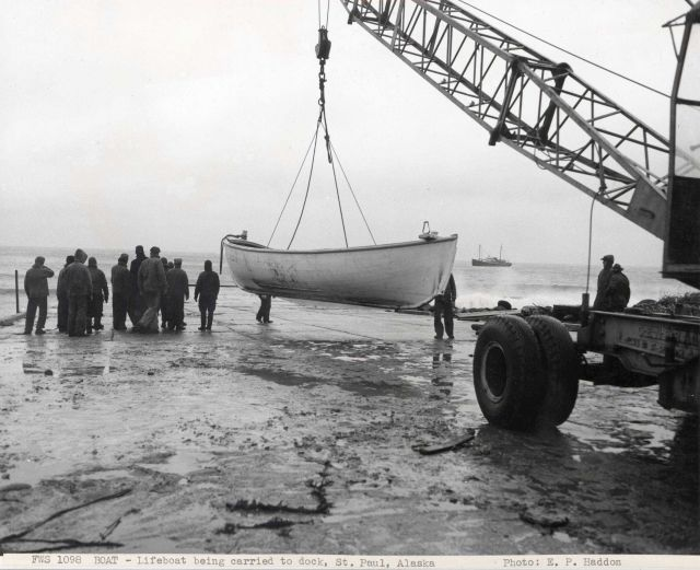 Lifeboat being launched to obtain supplies from FWS ship DENNIS WINN Picture