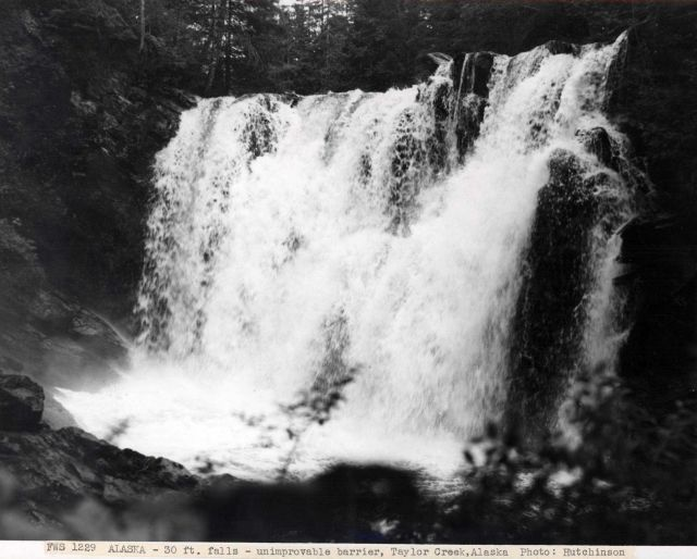 Thirty-foot waterfall - this barrier could not be improved for salmon passage. Picture