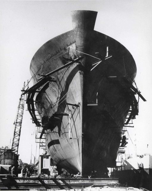 ALBATROSS IV under construction, keel up, at the Southern Shipbuilding Corporation at Slidell, Louisiana Picture