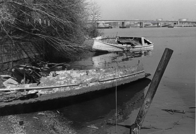 Derelict boat left to rot along the banks of the Potomac River. Picture