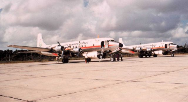 Weather Bureau DC-6's on the ground - N6539C in foreground, N6540C in background Picture