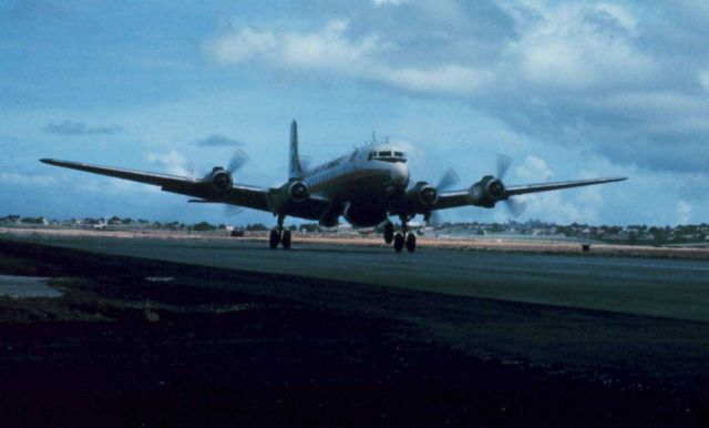 Weather Bureau DC-6 taking off from Seawell Picture
