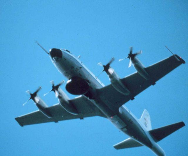 NOAA P-3 in flight showing underside Picture