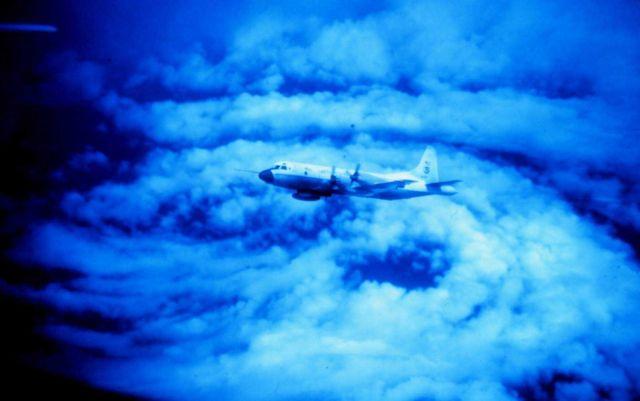 NOAA P-3 flying in eye of Hurricane Caroline Picture
