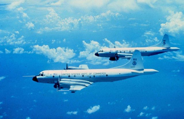 NOAA P-3's N42RF and N43 RF flying on a mission together. Picture