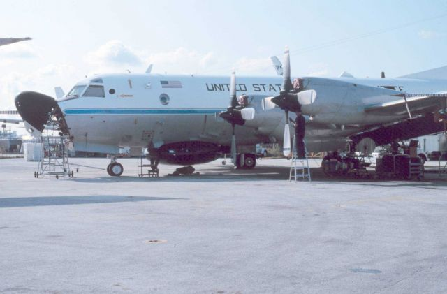 NOAA Lockheed WP-3D Orion turboprop aircraft, a P-3 variant. Picture