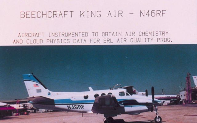 Beechcraft King Air - N46RF - Aircraft instrumented to obtain air chemistry and cloud physics data for ERL air Quality Prog. Picture