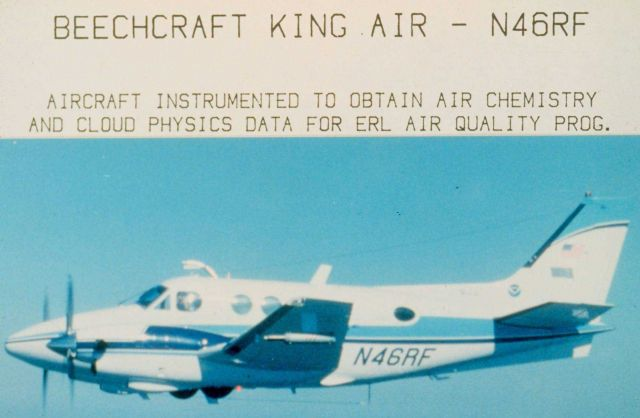 Beechcraft King Air - N46RF - Aircraft instrumented to obtain air chemistry and cloud physics data for ERL air quality programme. Picture