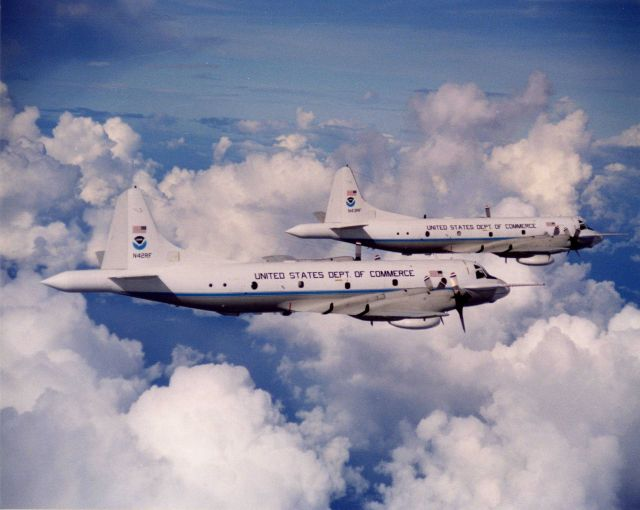 NOAA hurricane hunting P-3 aircraft N42RF and N43RF in flight. Picture