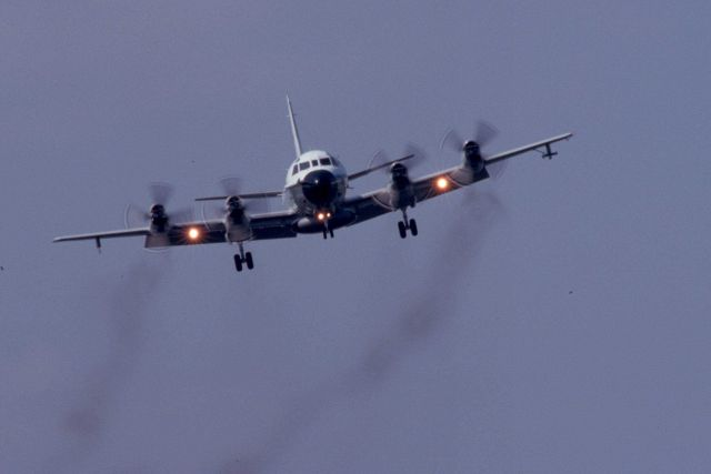 NOAA P-3 aircraft on approach to landing. Picture