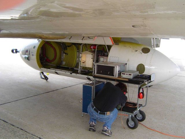 NOAA P-3 research aircraft outfitting for a project. Picture
