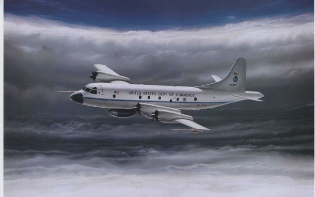 Artist's impression of NOAA P-3 N42RF hurricane hunter within the eye of a hurricane. Picture