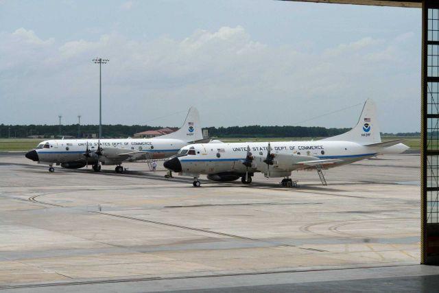 NOAA hurricane hunting P-3 aircraft N42RF and N43RF on the tarmac. Picture