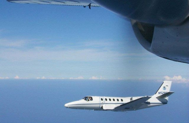 NOAA Citation jet N52RF used for photogrammetric missions port side view. Picture