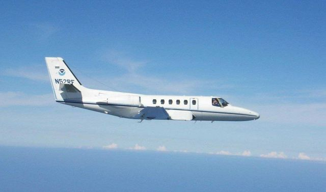 NOAA Citation jet N52RF used for photogrammetric missions starboard side view. Picture