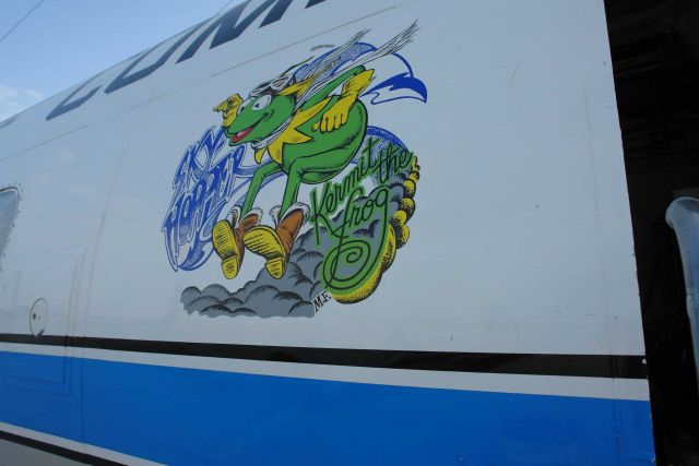 Kermit the Frog Sky Hopper art adorning NOAA P-3 hurricane hunter aircraft N42RF . Picture