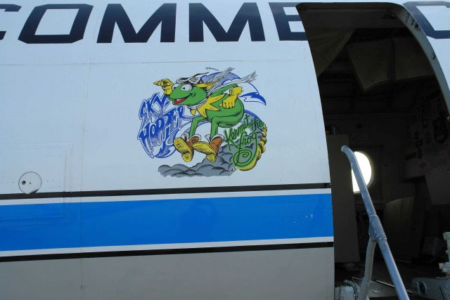 Kermit the Frog Sky Hopper art adorning NOAA P-3 hurricane hunter aircraft N42RF . Picture