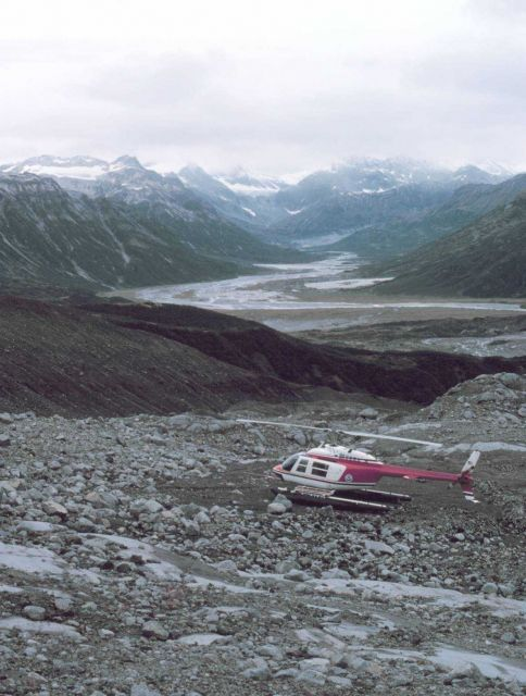 Leased Bell 206 on Redoubt Volcano during seismic observation surveys by University of Alaska for OCSEAP. Picture