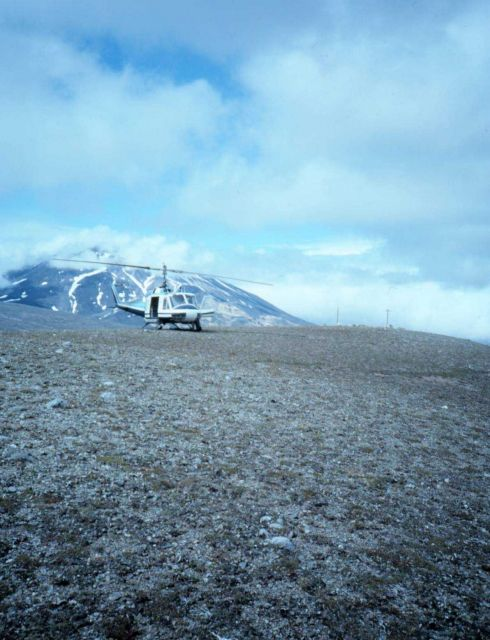 Helicopter support of seismic monitoring stations in the Katmai National Park area. Picture