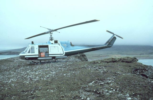 NOAA Bell UH-1M supporting seismic studies on the Alaska Peninsula. Picture