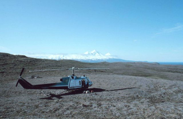 NOAA Bell UH-1M supporting seismic studies on the Alaska Peninsula in the vicinity of Pavlof Volcano. Picture