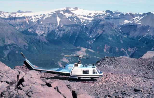 Bell UH-1M in Katmai National Monument supporting University of Alaska seismic studies. Picture