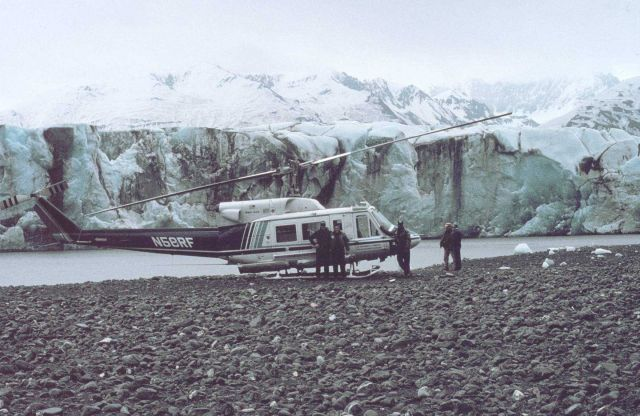 NOAA N58RF helicopter on ground by glacier front in South Central Alaska. Picture
