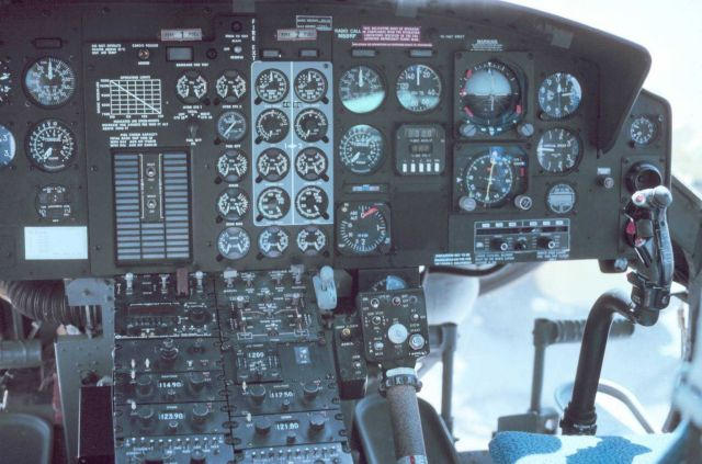 Instrumental panel on Bell 212 helicopter. Picture
