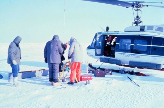 NOAA Bell Helicopter N56RF supporting science operations in the Beaufort Sea area. Picture