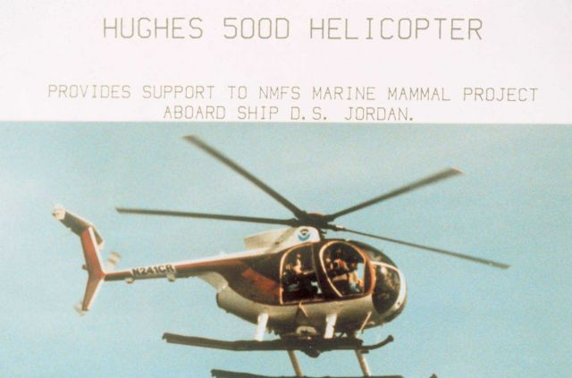 McDonnell-Douglas MD-500D helicopter multi-mission helicopter used by NMFS to fly off the NOAA Ship DAVID STARR JORDAN. Picture