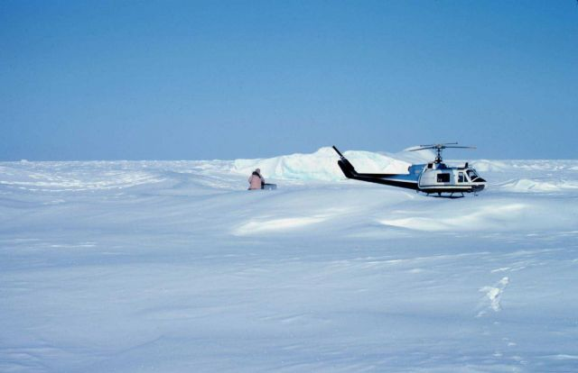 Helicopter operations on the Bering Sea during Outer Continental Shelf Environmental Assessment studies. Picture