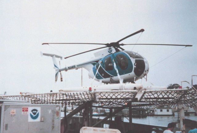 MD500 helicopter secured on flight deck of the DAVID STARR JORDAN Picture