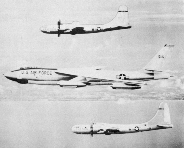 Two B-50 and a B-47 used by the Weather Bureau for hurricane research between 1956 to 1958 Picture