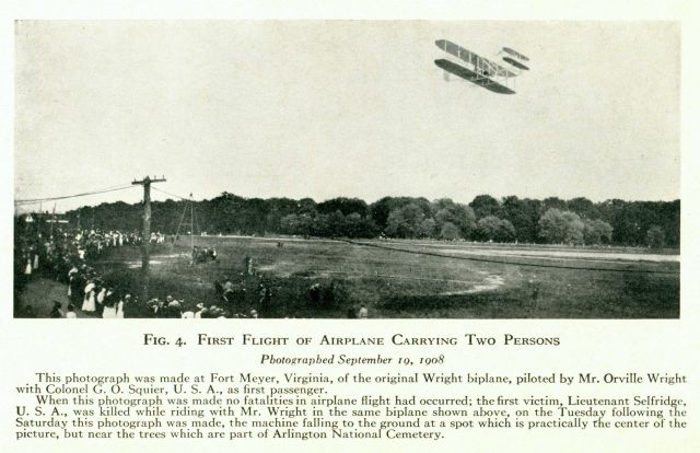 First Flight of Airplane carrying two persons piloted by Mr Orville Wright with Colonel G.O.Squier as first passenger. Picture
