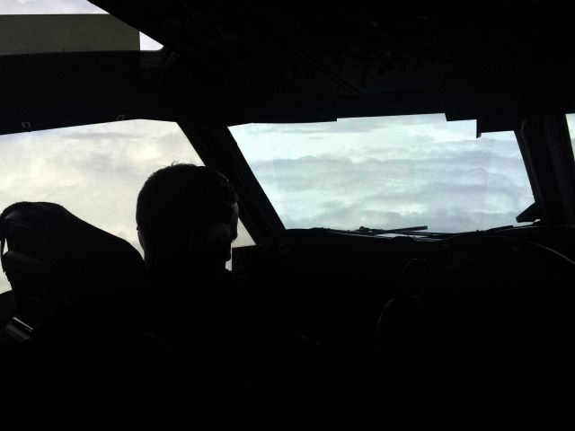 Eye of Hurricane Edouard as seen from cockpit of NOAA P-3. Picture