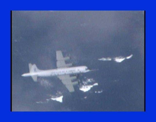 NOAA P-3 N43RF flying in Hurricane Edouard. Picture