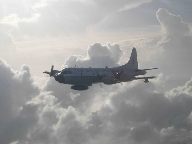 NOAA P-3 N42RF as seen from NOAA P-3 N43RF during Hurricane Fabian missions. Picture