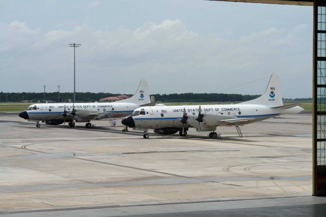 NOAA P-3 hurricane hunters N42RF and N43RF. Picture